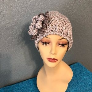 Hand made crochet sparkle hat with flower